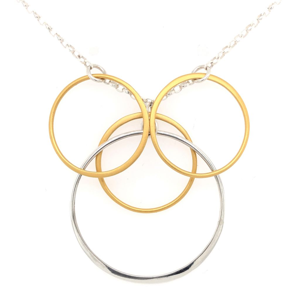 """Image Description of """"14K Gold Plated & Sterling Silver Multi Circles Necklace""""."""