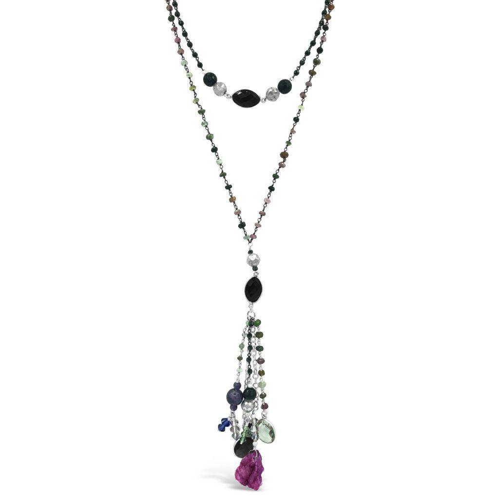 "Image Description of ""Two Strand Gemstone Chain Necklace Pendant & Multi-Gemstone Drop""."