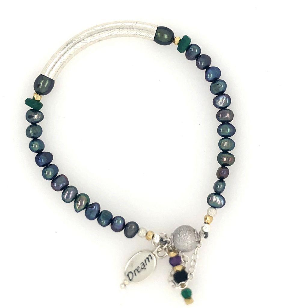 """Image Description of """"Sterling Tube & Peacock Freshwater Pearl Bracelet""""."""
