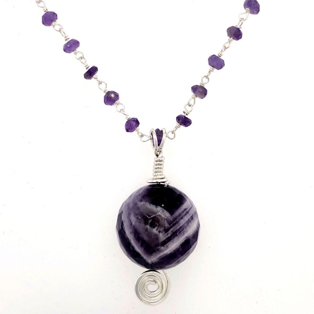 "Image Description of ""Chevron Amethyst Pendant Necklace""."