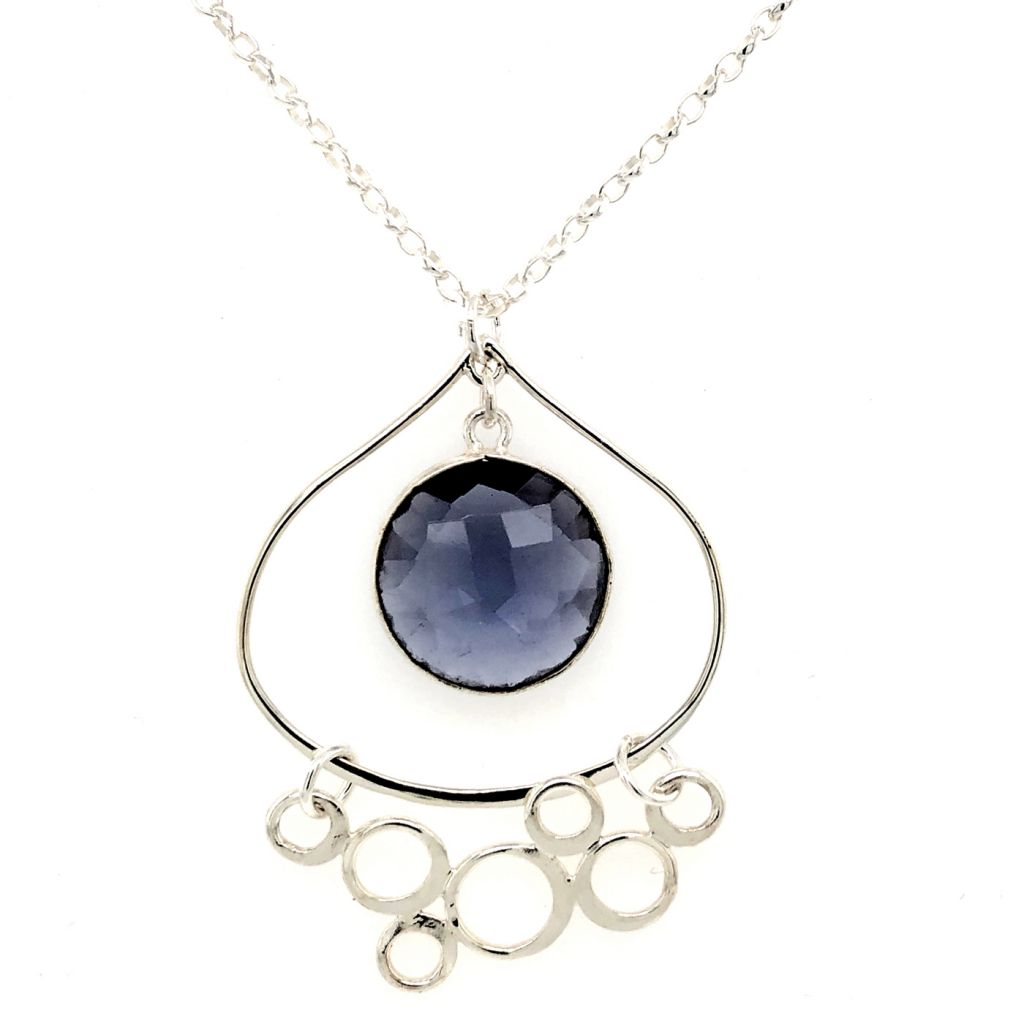 """Image Description of """"Sterling Silver Teardrop Pendant with Round Bezeled Iolite and Bubbled-Festoon Accent Necklace""""."""