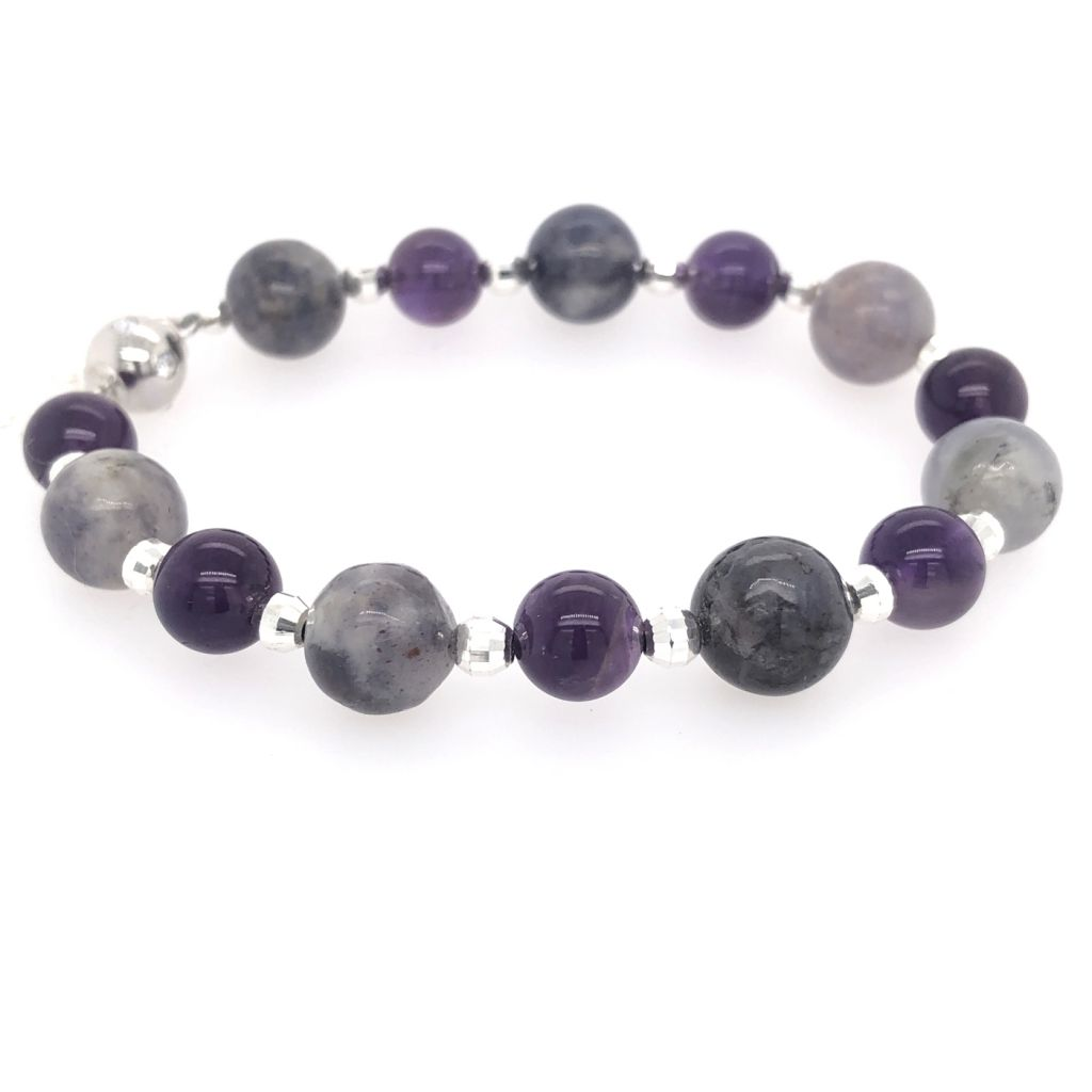 """Image Description of """"Iolite & Amethyst Rounds with Sterling Silver Diamond Cut Rounds Bracelet""""."""