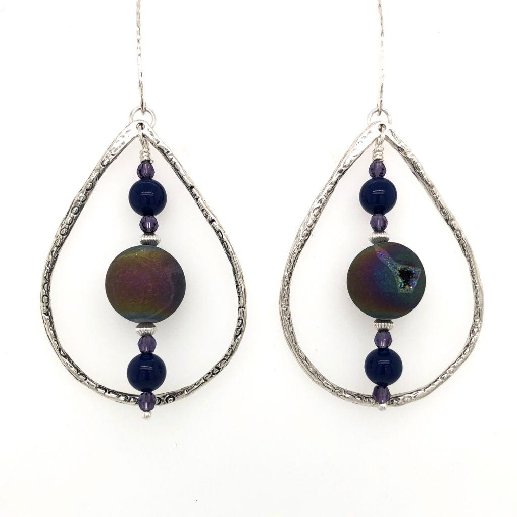 "Image Description of ""Sterling Silver Teardrop Earrings with Rainbow Druzy Agate Drops""."
