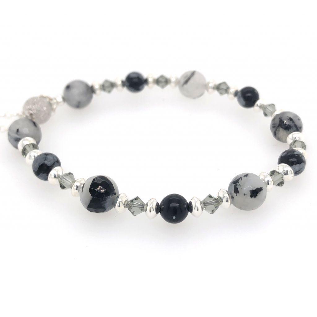 """Image Description of """"Faceted Black Tourmalinated Quartz & Snowflake Obsidian Rounds Bracelet""""."""