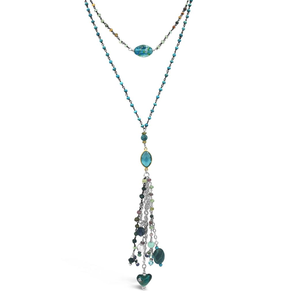 """Image Description of """"Two Strand Tourmaline & Turquoise Chain Necklace with Pendant & Multi-Gemstone Drop""""."""