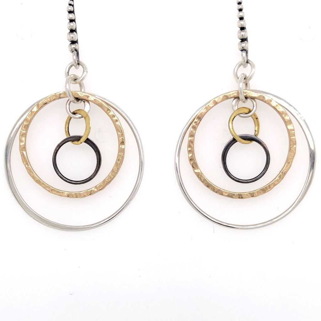 """Image Description of """"Graduated Circles Mixed Metals Earrings""""."""