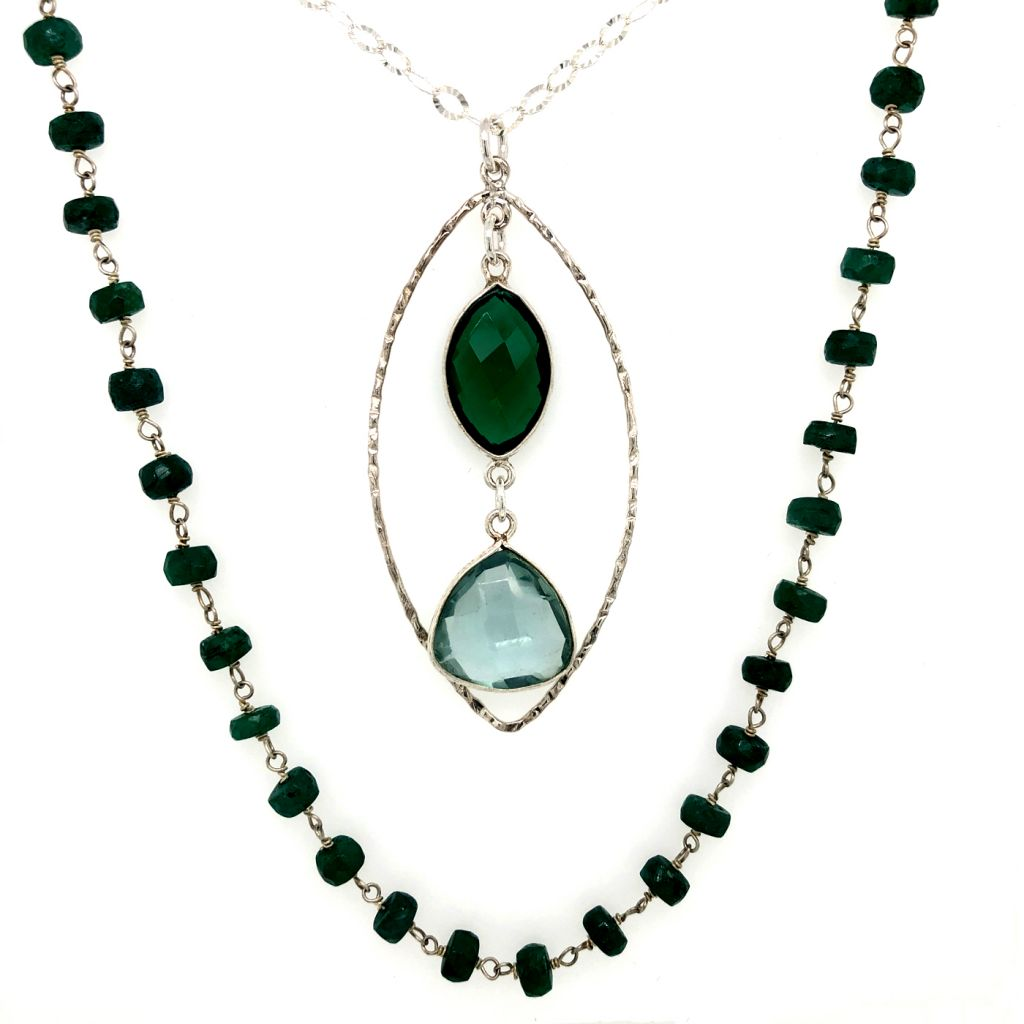 """Image Description of """"Sterling Silver & Green Onyx Gemstone Chain Necklace with Bezeled Gemstones Pendant""""."""