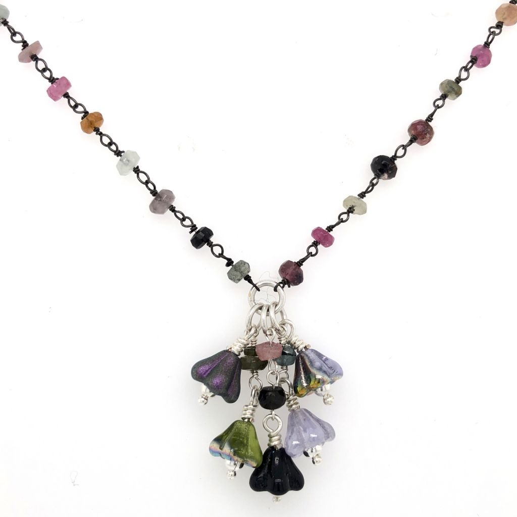 """Image Description of """"Sterling Silver Tourmaline Gemstone Necklace with Czech Glass Flowers""""."""