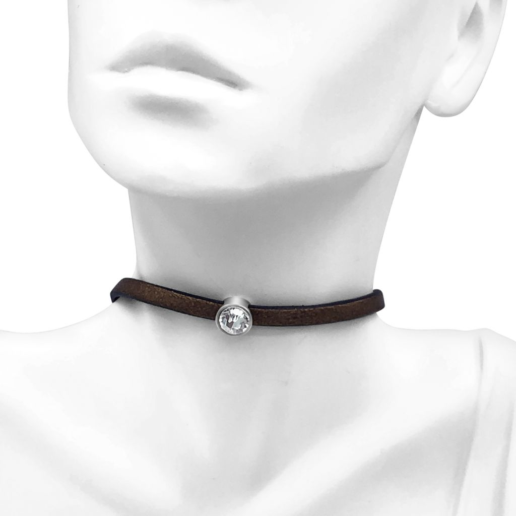 """Image Description of """"Bronze 5 mm Flat Leather Choker Necklace with Single Round Crystal Slide """"."""
