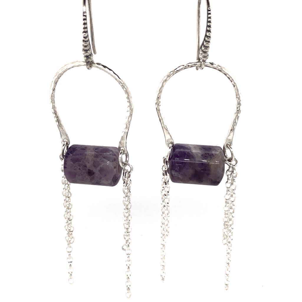 """Image Description of """"Sterling Silver Hammered U-Shaped Link with Amethyst Tube Earrings""""."""