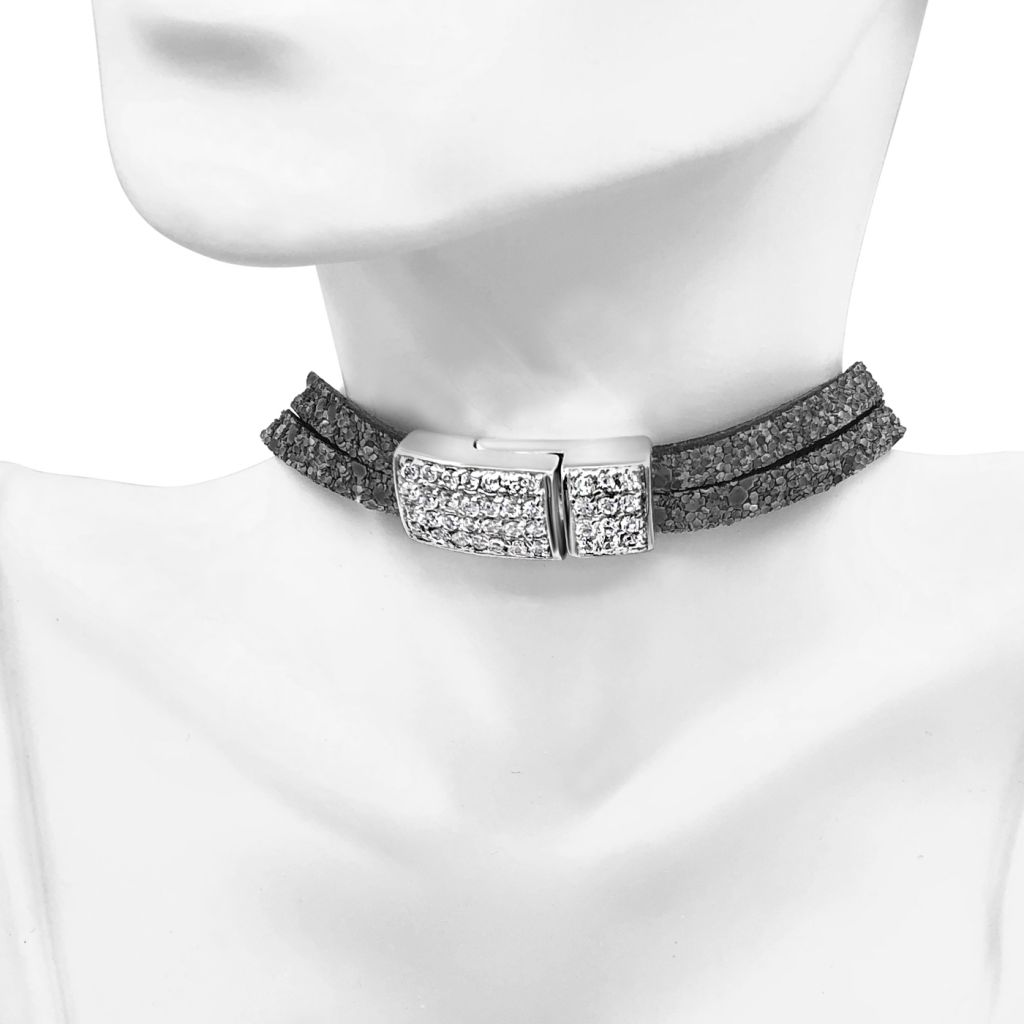 """Image Description of """"Two Strand Grey Glitter Leather Choker Necklace with Full Pave Crystal Clasp""""."""