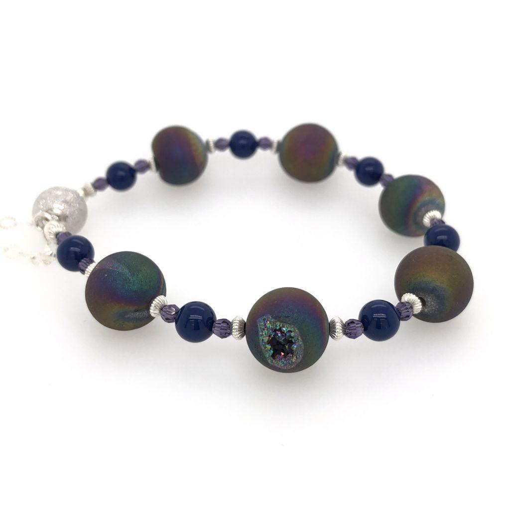 """Image Description of """"Rainbow Druzy Agate Bracelet""""."""