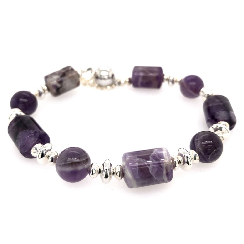 """Image Description of """"Dogtooth Amethyst Tubes & Rounds with Sterling Accents Bracelet""""."""