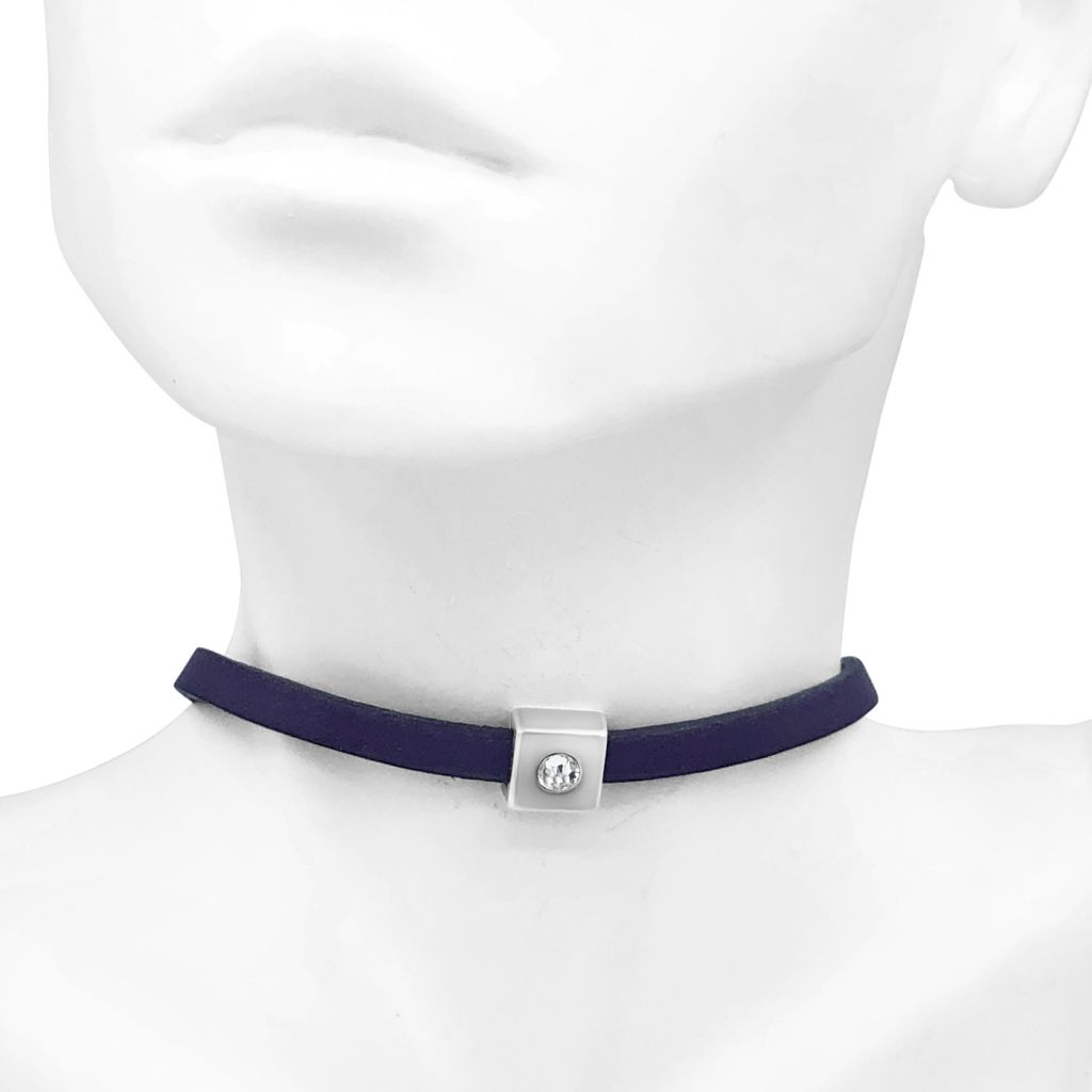 """Image Description of """"Navy 5 mm Flat Leather Choker Necklace with Single Square Crystal Slide""""."""