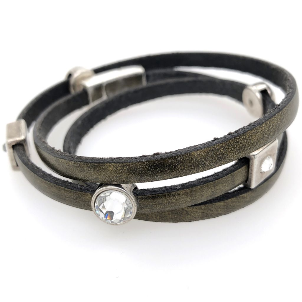 """Image Description of """"Bronze 5 mm Flat Leather Triple Wrap Bracelet""""."""