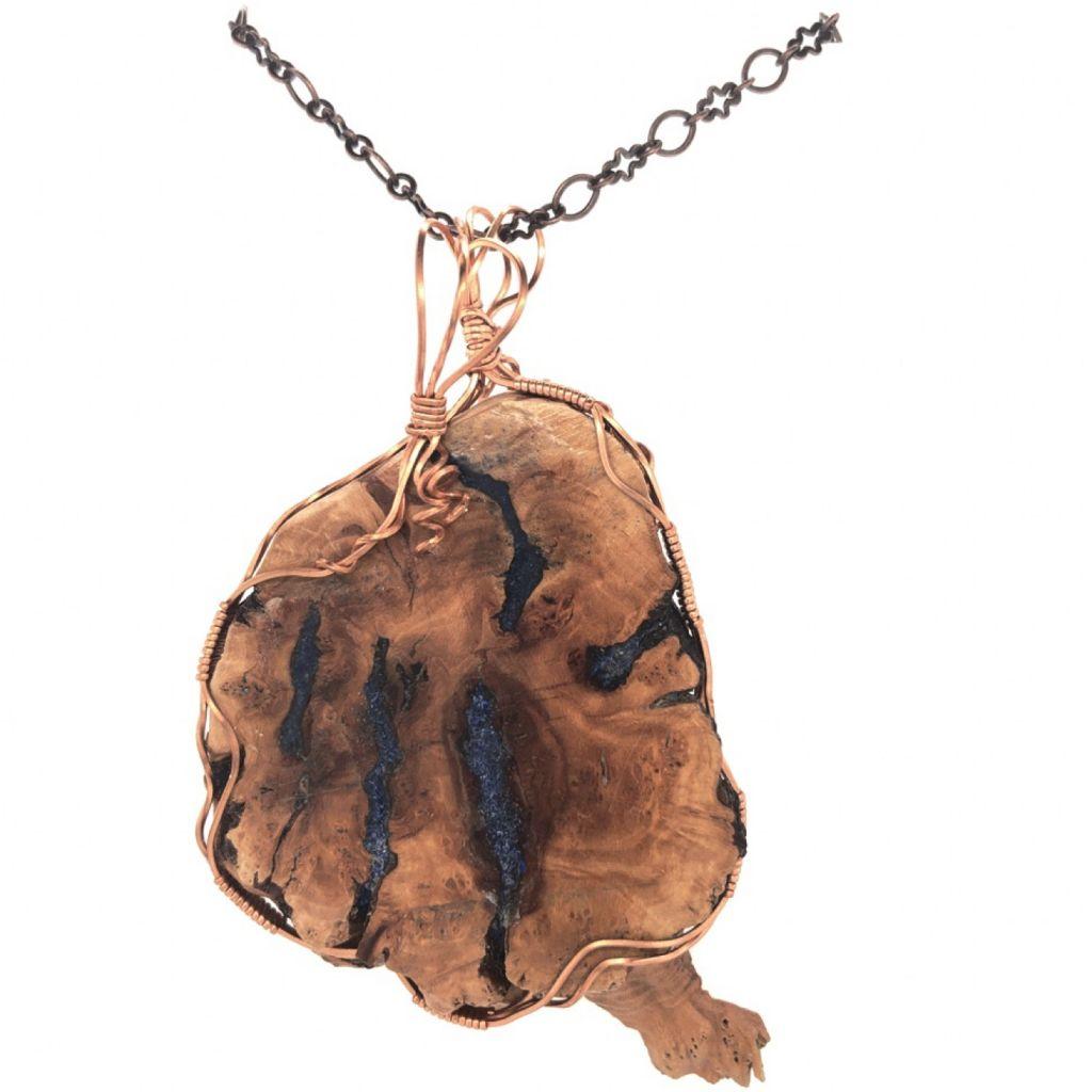 "Image Description of ""Copper Wire Wrapped Manzanita & Lapis Pendant Necklace""."