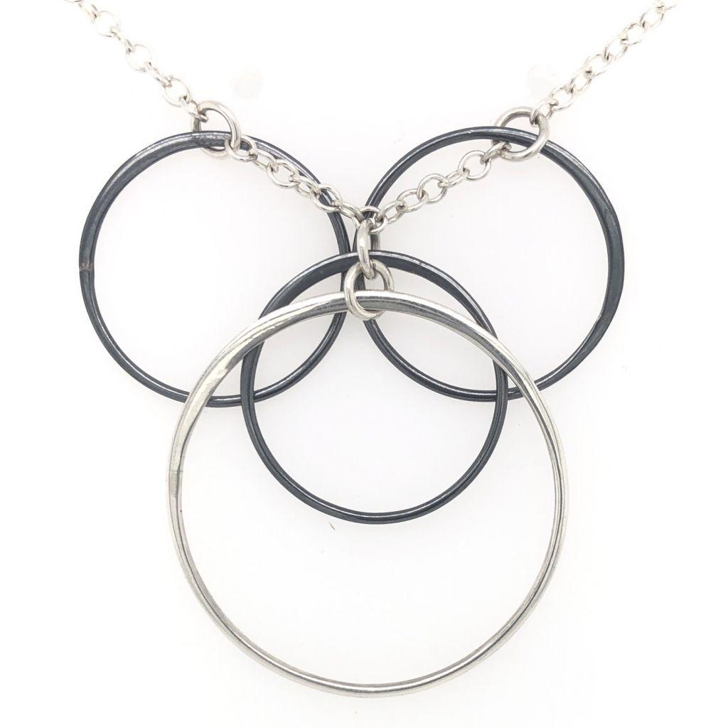 "Image Description of ""Black Oxidized & Sterling Silver Multi Circles Necklace""."