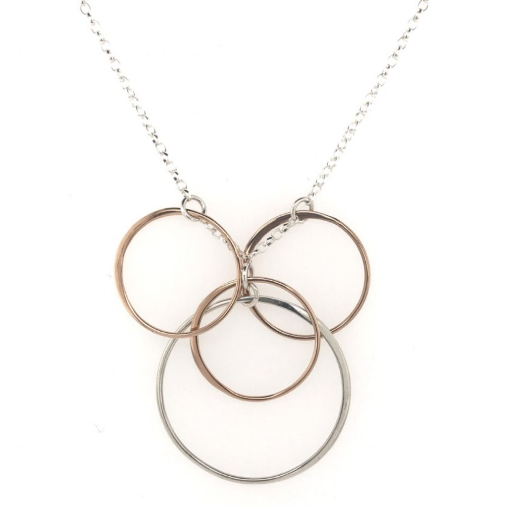 """Image Description of """"Rose Gold & Sterling Silver Multi Circles Necklace""""."""