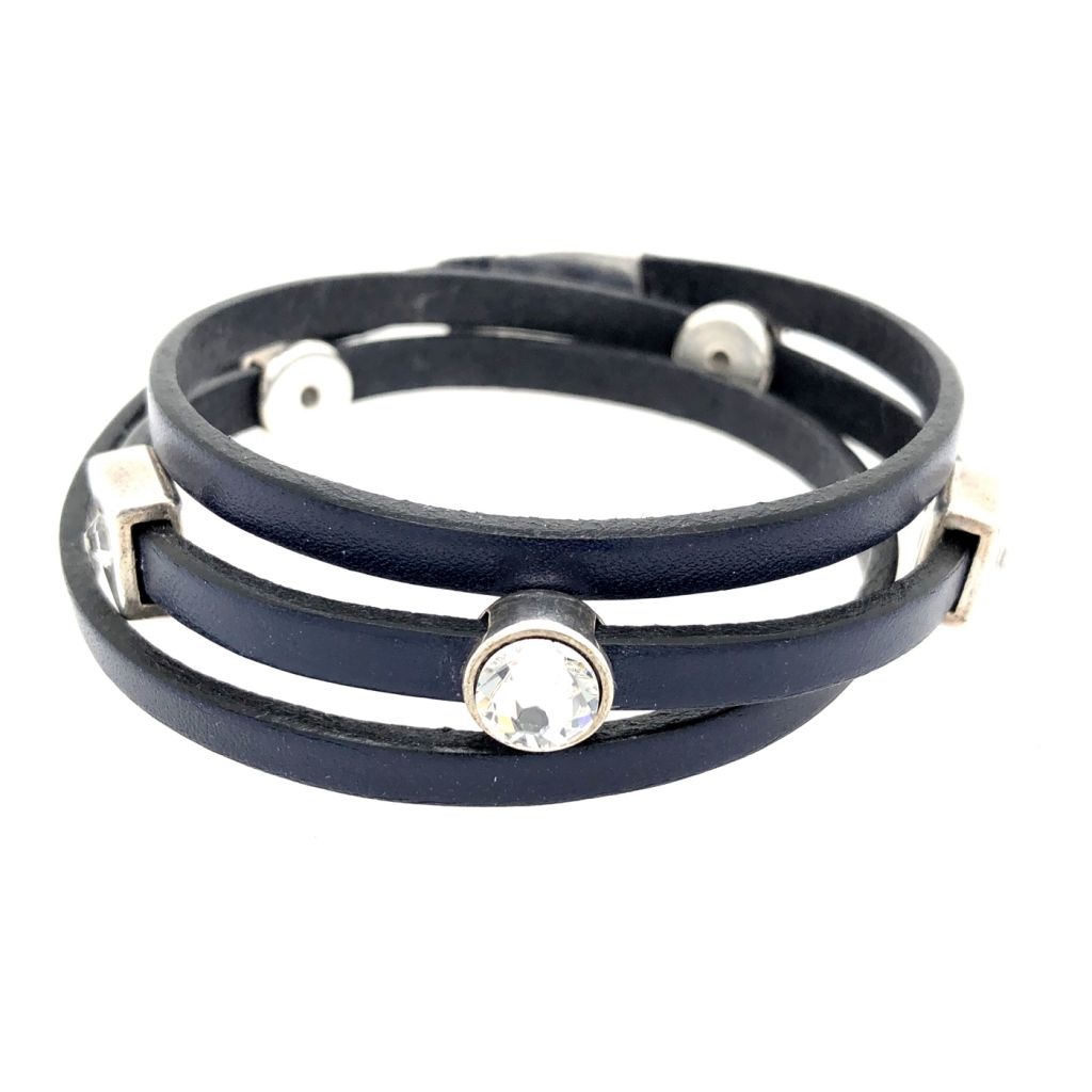 """Image Description of """"Navy 5 mm Flat Leather Triple Wrap Bracelet""""."""