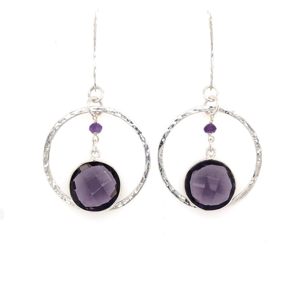 "Image Description of ""Bezeled Amethyst Gemstone Hoop Earrings""."