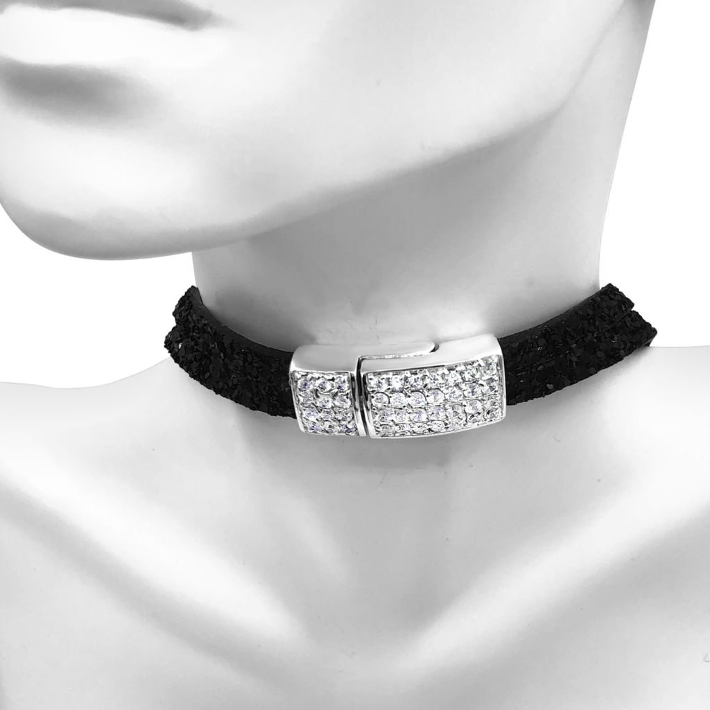 """Image Description of """"Two Strand Black Glitter Leather Choker Necklace with Full Pave Crystal Clasp""""."""