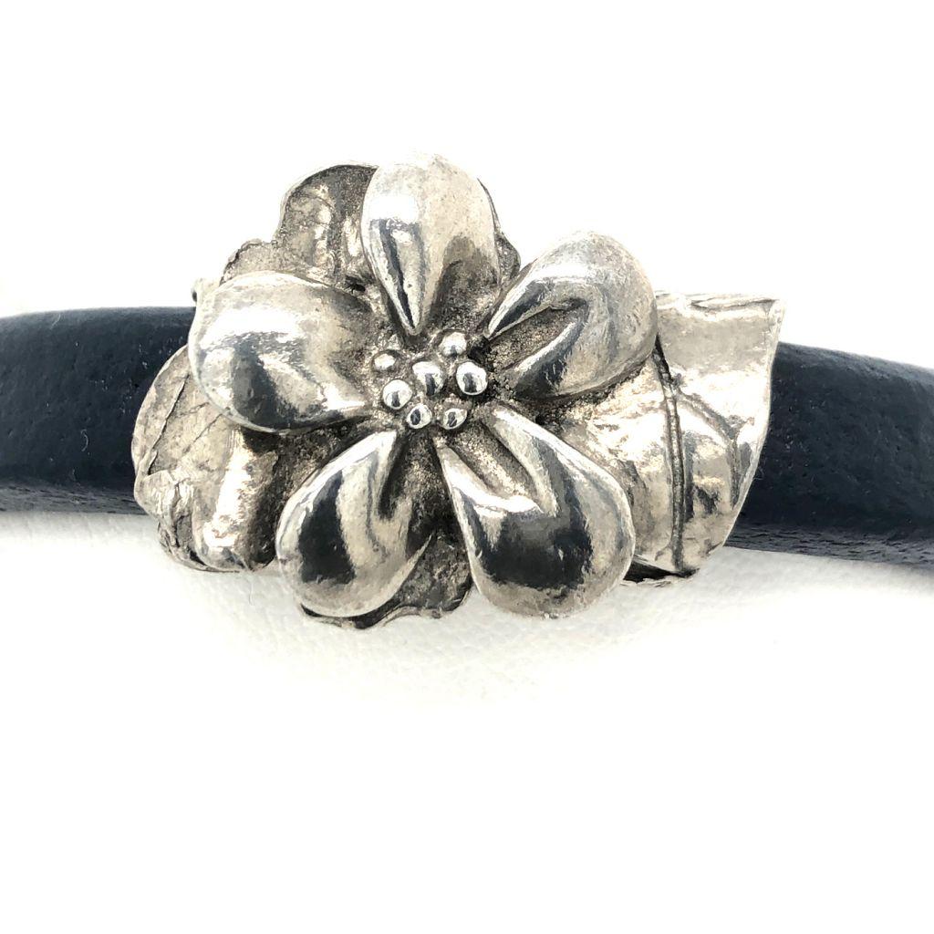 """Image Description of """"Blue Regaliz™ Leather with Dorabeth Designs Pewter Flower Bracelet""""."""