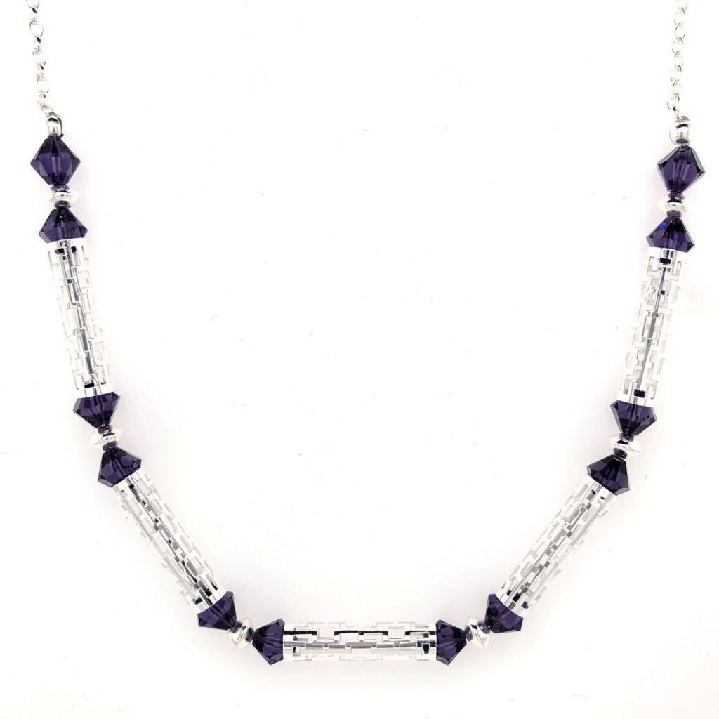 "Image Description of ""Sterling Silver Frame-Patterned Tube and Swarovski Bead Necklace""."
