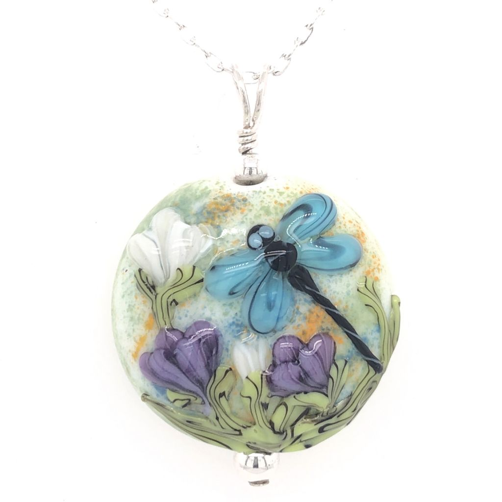 """Image Description of """"Round Lampwork Glass Dragonfly Necklace""""."""