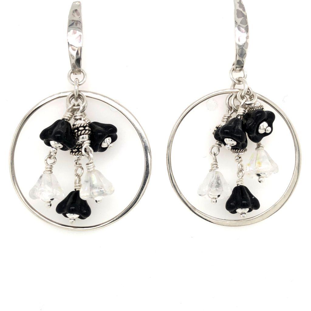 "Image Description of ""Sterling Silver Hoop Earrings surrounding a Bouquet of Czech Glass Flowers""."