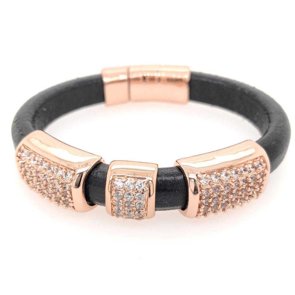 """Image Description of """"Back Regaliz™ Leather with Rose Gold Crystal Pave Slides & Clasp Bracelet""""."""