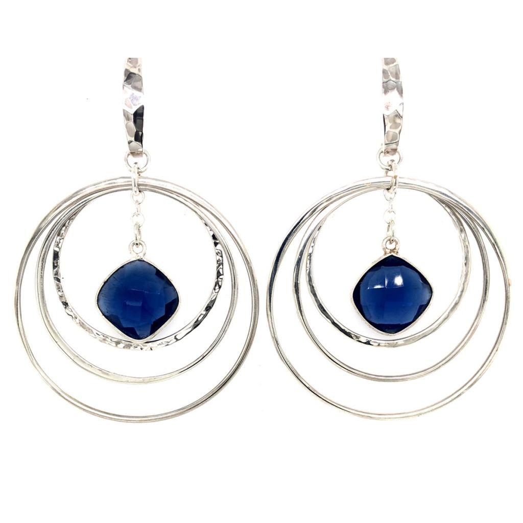 "Image Description of ""Bezeled Gemstone Hoop Earrings""."