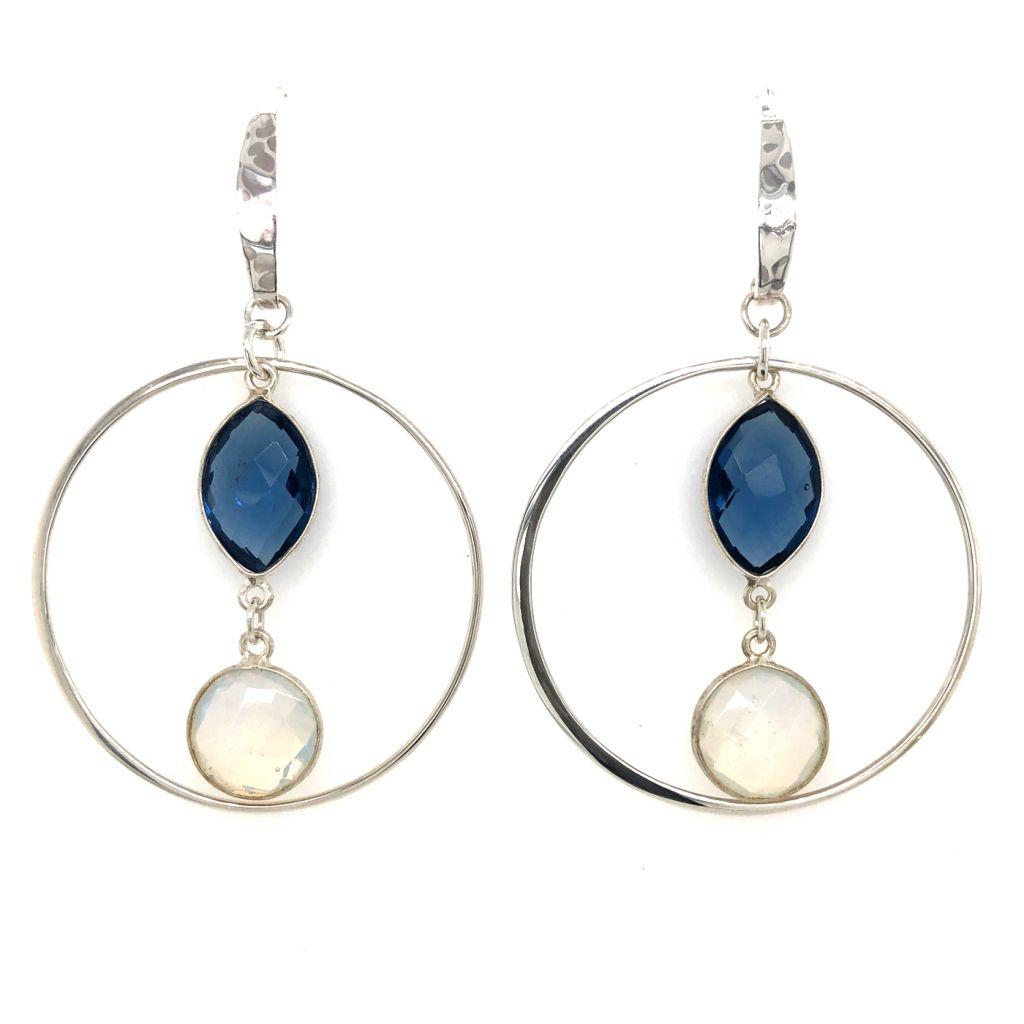 """Image Description of """"Double Bezeled Gemstone Hoop Earrings""""."""